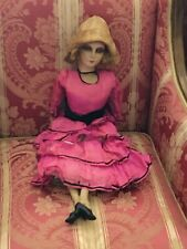 Antique Boudoir Lady Doll Cloth Mask Painted Face 22� Tall (including Hat)