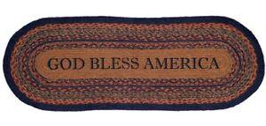 3' God Bless America Eco-Friendly Braided Jute Table Runner Blue & Red Arlington