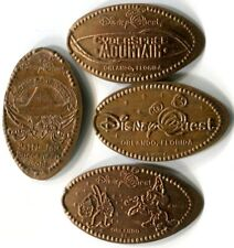 Retired Disney Quest Collection Of Four Copper Souvenir Pressed Pennies