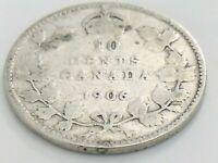 1906 Canada Ten 10 Cent Dime Silver Canadian Circulated Edward VII Coin K074