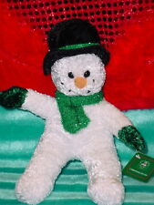CHRISTMAS HOUSE SNOWMAN ** GREEN SCARF ** SO CUTE **11 INCHES ** NEW **