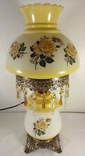 "Gone With The Wind Style Yellow Rose 19"" Table Lamp With Prisms"