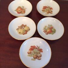 """Lot of 5 Gold Rimmed Porcelain Butter Pat Dishes 4"""", made in Israel, Mint"""