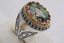 new Turkish Ottoman 925 Sterling Silver  Topaz Sapphire Stone Mens Ring Size 10