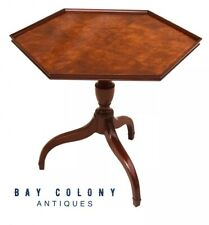20TH C GEORGIAN ANTIQUE STYLE BURLED WALNUT SPIDER LEG STAND / TEA TABLE