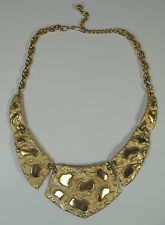 Rare Vintage Napier  Runway Couture  Brutalist Gold Tone Nugget Collar Necklace