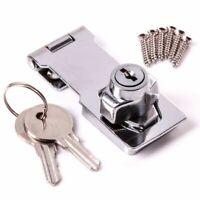 "Garage Shed Gate Door Hasp Lock Staple Security Key Locking - Chrome 3"" & 4.5"""