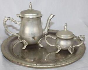 Godinger Silver Art Creamer Sugar & Tray Vtg Serving 3 Piece Set Ornate Footed