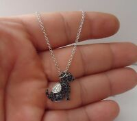BLACK DOG NECKLACE PENDANT W/ 2 CT ACCENTS /925 STERLING SILVER / 19MM BY 19MM