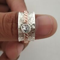 Crystal Ring Spinner Ring,925 Sterling Silver Wide Band Handmade All Size P-5
