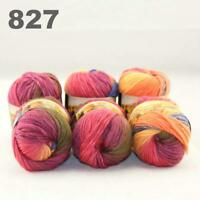 Sale New 6 Skeins x50gr Rainbows Multicolor Hand Knit Wool Yarn Wrap Scarves 27