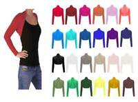 New Women's & Ladies Long Sleeve Plain Bolero Shrug Cropped Jersey Top UK 8-26