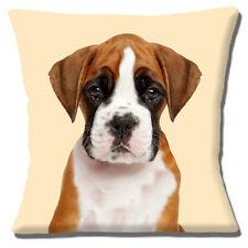 Lindo Boxer Cachorro Funda de cojín 40.6cm 40cm Foto estampada marrón & Blanco