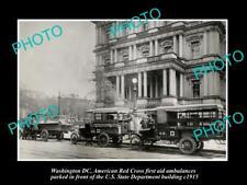OLD POSTCARD SIZE PHOTO OF WASHINGTON DC THE AMERICAN RED CROSS AMBULANCE 1915