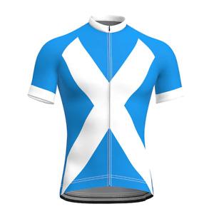 2021 Men's Short Sleeve Cycling Jersey Summer Blue Scotland Bike Jersey Top