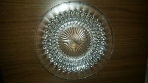 Vintage Indiana Glass Plate Diamond Point Clear Pattern Centrepiece.