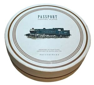 Pottery Barn cocktail plates set transportation train airplane drink recipe NEW