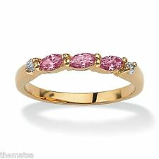 18K GOLD PINK TOURMALINE BIRTHSTONE  MARQUISE CUT GP  RING SIZE 5,6,7,8,9,10