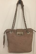 Ivanka Trump Tan Taupe Beige Shoulder Bag Handbag Quilted Purse w/ Chain Strap
