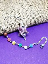 Merkaba Pendulum,LEPIDOLITE Reiki Healing Spiritual 7 Chakra Chain Bracelet  m3