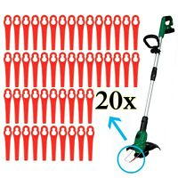 20 Kunststoffmesser Ersatzmesser / Messer /Nylon passt für Akku Rasentrimmer A++