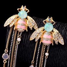Betsey Johnson Fashion Woman Alloy Rhinestone Pink Enamel Bee Tassel Earrings