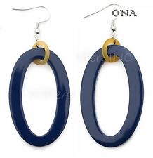 & Lacquer Earrings Q9792 Large Navy Ona Handmade Lagenlook Water Buffalo Horn