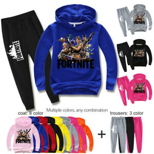 Fortnite Sweatshirts Kids Boys Cartoon Pullover Hoodie+Trousers Cotton Set