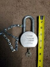 American Steel Ball Padlock w/ key and attached chain. Series T900