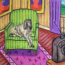 Afghan hound in a living room dog art Tile coaster gift modern folk 6x6