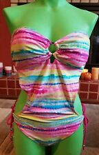 Joe Boxer Backless Monokini Swimsuit Pink Multi-Color Strapless Large  NWT $42