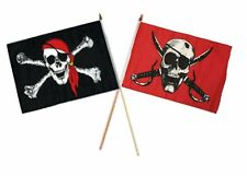 "12x18 12""x18"" Wholesale Combo Pirate Red Hat & Crimson Skull Stick Flag"