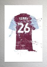 John Terry - Aston Villa Football Shirt Art - Splash Effect - A4 Size