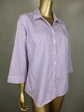 SPORTSCRAFT BLOUSE SHIRT : 100% COTTON : PURPLE STRIPED : TOP TUNIC : 16 LARGE