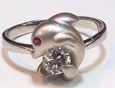 14k SOLID REAL GOLD vintage white dolphin ring Manmade diamond Ruby 7.5 5 6 8 9