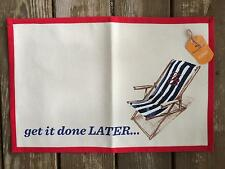 "Tommy Bahama GET IT DONE LATER Stripe Beach Chair 13""x19"" Placemats Set of 4 NEW"
