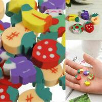 50PCS/lot Novelty Mini Fruit Rubber Pencil Eraser Set Stationery Kids Children