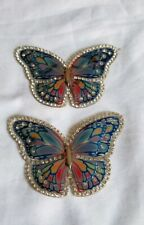 2 Butterfly Iron On Patch Blue Iridescent with Rhinestones *US SELLER*
