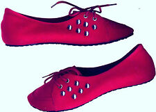 NWOB SILVER STUDDED CRIMSON RED OXFORD SUEDE SHOES_S36 /35