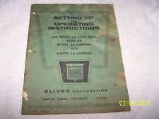 Vintage Instructions Manual for Model Oliver Corn Head