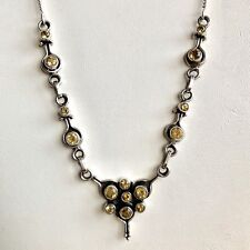STUNNING FACETED YELLOW CITRINE GEMSTONE & 925 STERLING SILVER NECKLACE