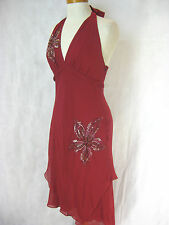 SZ 10 BCBG MAX AZRIA RED SILK DRESS DESIGNER