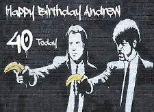 PULP FICTION Image by BANKSY Personalised BIRTHDAY CARD DAD SON BROTHER FRIEND