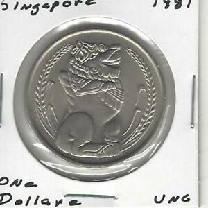 Singapore 1 Dollar 1981,Statue-Singapore Lion, Large Coin 33.3 mm, Uncirculated!