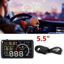 """5.5"""" OBD II OBD2 Car HUD Head Up Display Engine Speed KPH MPH Alarm RPM Refuel"""