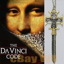 Da Vinci Code Necklace Pendant Silver Gold plated 7 x 2.3 cm DieCast 44 cm Chain
