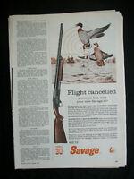 VTG 1960 Orig Magazine Ad Flight Cancelled SAVAGE MOD 30 Gun Rifle Duck