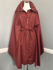 New $2.990 AKRIS Maroon , Polyester, Belted CAPE-RAINCOAT-TRENCH , size S-M-L
