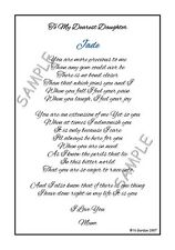 Dearest Daughter Personalised Poem Birthday Christmas Unique Gift Poems A5