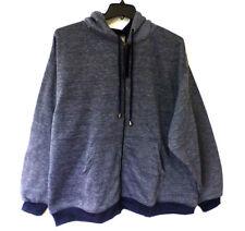 Brooklyn Xpress Mens Size 3XL Full Zip Blue Marled Fleece Hoodie Sweatshirt New